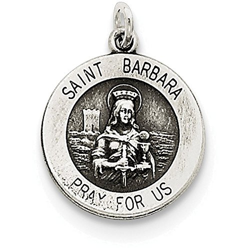 Barbara Medal Pendant - Finejewelers Sterling Silver Antiqued Saint Barbara Medal Pendant Necklace Chain Included