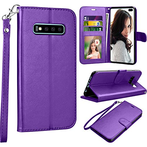 Njjex Galaxy S10 Plus Wallet Case, Njjex Samsung Galaxy S10+ / S10 Plus 2019 Case, [Nallet] PU Leather Folio Flip Credit Card Slots/Holder [Kickstand] Magnetic Phone Cover & Wrist Strap [Purple] (Best Student Credit Card 2019)