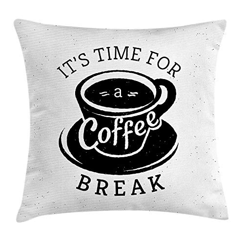 (Quote Throw Pillow Cushion Cover, It is Time for a Coffee Break with Cup of Expresso Icon on Scattered Background, Decorative Square Accent Pillow Case, 18 X 18 inches, Black and White)