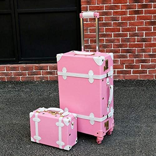 Mdsfe Maleta Snugcozy Princess Serie Travel Boardable Suitcase 20/22/24 Pulgadas tamaño Bolsos y Spinner para Equipaje rodante - Conjunto Rosa Blanco, 20