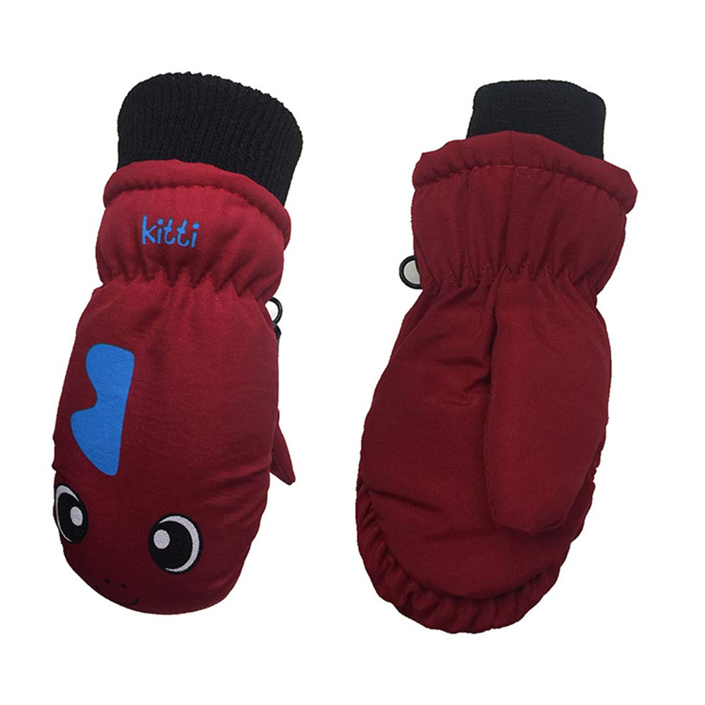 Kids Boys Girls Waterproof Windproof Ski Mitten Gloves Binghang