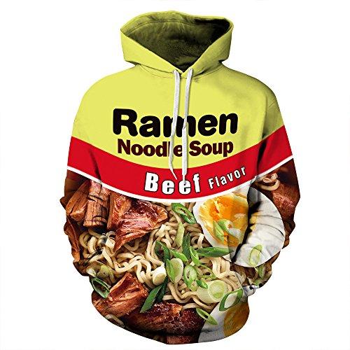 PIZOFF Unisex 3D Digital Ramen Noodle Beef Hoodie Pullover Long Sleeve Hooded Sweatshirts Pockets AM006-02-S