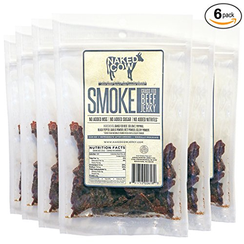 Smoke Beef Jerky - Naked Cow All Natural Grass Fed Beef Jerky - SMOKE 6 Pack