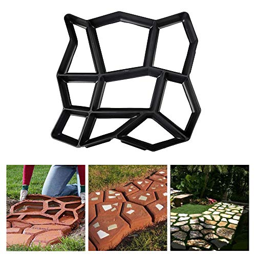 GOWARD Paver Mold Walk Maker, DIY Path Maker, Stepping Stone Mold Reusable Garden Lawn Paving Concrete Mold for Outdoor Sidewalk Walkway Improvements(13.7 x 13.7 inch (Black)