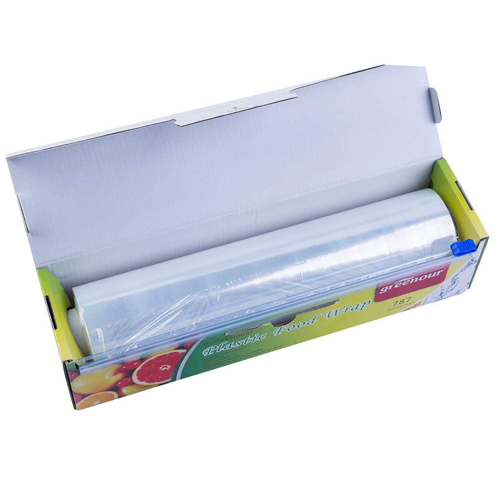 Greenour plastic food wrap Foodservice Film with slide cutter cling film 11  7/8 Inch X 787 Ft Roll