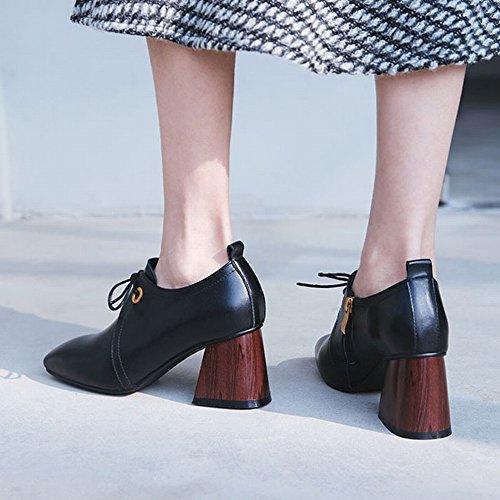 Chaussures Talons de Femmes Les Semelle de Petites Européenne Station Simples Printemps Chaussures DHG Carrées 36 à Chaussures Hauts Noir Femmes de avec Chaussures à Chaussures Frais C8nxqZfwY5