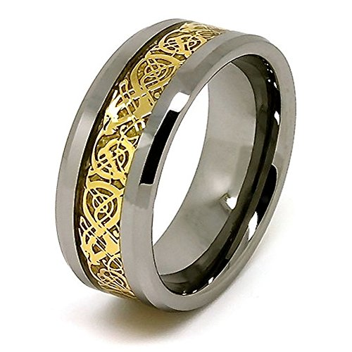 10mm Polished Tungsten Wedding Band with Golden Colored Celtic Dragon Inlay Size 7.5 (Ck Ring)