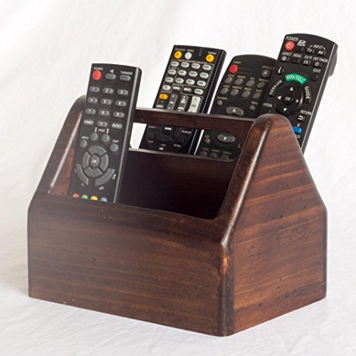 Wooden Remote Control Holder – 2 Compartments – Centre Handle