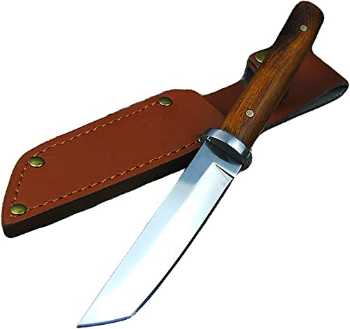Promithi Fixed Blade with Leather Sheath Wooden Handle Japanese 9CR 18MOV Outdoor Fishing Knife Jungle Hunting Knife Camping Tactical Wood Working Knife