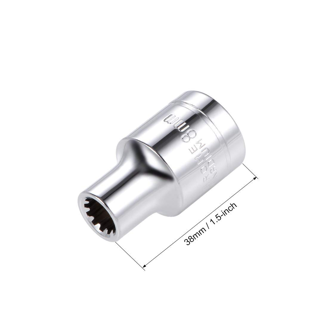 1//2-inch Drive E8 Universal Spline Socket Shallow 12 Point Cr-V Steel 2 Pcs