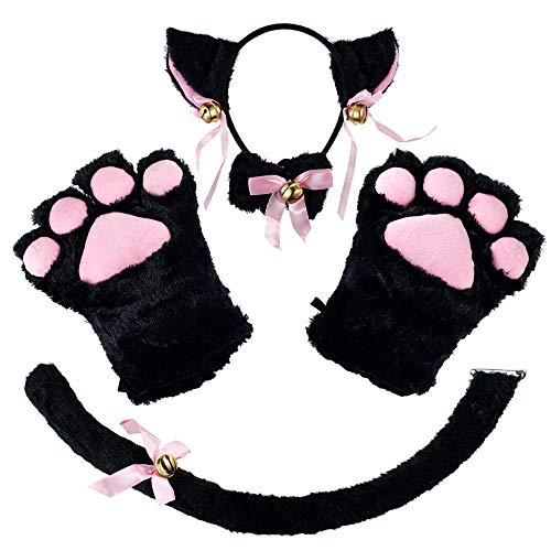 CHICHIC Cat Cosplay Costume Accessories Kitten Tail Ears Collar Paws Gloves Set Anime Lolita Gothic Set for Women Girl Halloween Dress Up Black