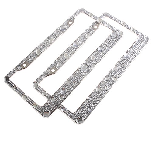 Luxury Fully Handmade Rain Drop Shape Clear Bling Crystal License Plate Frame Cute Rhinestone Car/Truck/SUV License Plate Holder(2 (Jeweled Shopper)