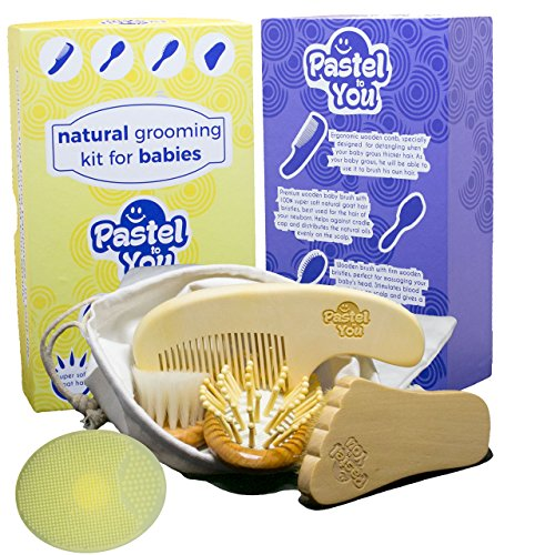 6 Piece Gentle Natural Wood Hair & Nails Brushing Set -Baby Grooming Kit - hair brush, cradle cap, bath brush, detangle and nail cleaning solution + cotton storage bag by Pastel to You from Pastel to You