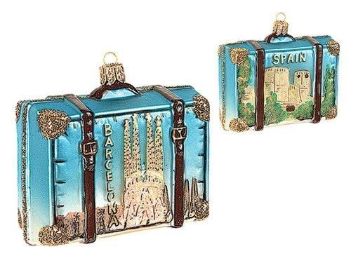 Pinnacle Peak Trading Company Spain Travel Suitcase Polish Glass Christmas Ornament Barcelona ONE Decoration by Pinnacle Peak Trading Company