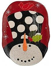 Grasslands Road Pottery Snowman Polka Dot Stoneware Platter