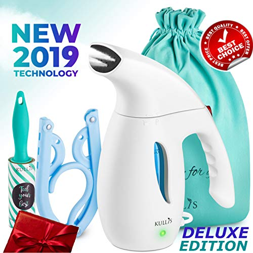 - KULLIS [NEW 2019] - Steamer for Clothes, Portable Clothes Steamer, Handheld Clothing Steamer. 8-in-1 Hand Travel Fabric Steamer, Home Wrinkle Remover, Garment Steamer Iron Powerful Steamer. 6oz