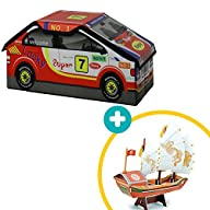 Racing Car Toy Chest Organizer with 3D Adventure Ship Puzzle Bonus, Racing Car for Kids Room Storage…