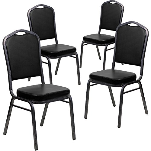 Flash Furniture 4 Pk. HERCULES Series Crown Back Stacking Banquet Chair in Black Vinyl - Silver Vein Frame