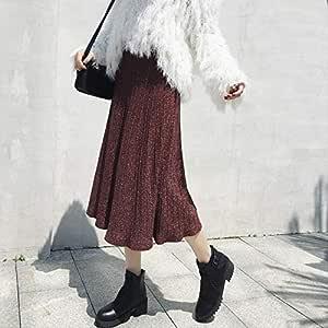 MEILIDE Falda para Mujer Falda Tejida de otoño e Invierno Cintura ...