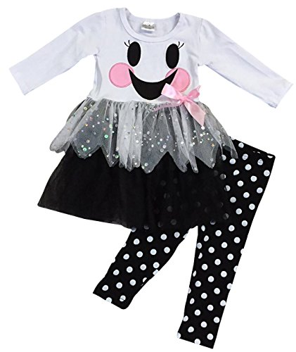Little Girls' 2 Pieces Top Pant Set Happy Smiley Face Tulle Polka Dot Pant Outfit White 4 M (P700322P) ()