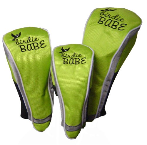 Birdie Babe Golf Club Head Covers for Women Set of 3 Lime Green