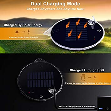 AIDIER Solar Camping Light, Dual Solar and USB Charging Lantern with Ultra-Thin Waterproof IPX7 Magnetic Handy Outdoor Lights for Camping, Hiking, Outage, Hurricane, Cellphone Emergency Charging