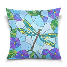 ALAZA Throw Pillow Case Decorative Cushion Cover Square Pillowcase, Abstract Stained Glass Dragonfly Sofa Bed Pillow Case Cover(20x20inch) Twin Sides