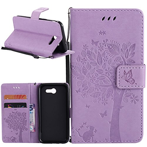 Galaxy J7 V Case, Galaxy J7 Perx Case, Galaxy J7 Sky Pro Case, Linkertech [Kickstand Feature] PU Leather Wallet Flip Pouch Case Cover with Wrist Strap & Card Slots for Samsung Galaxy J7 2017 (B-6)