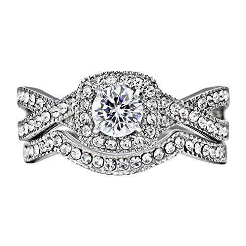 FlameReflection Stainless Steel Women's Infinity Wedding Ring Set Halo Round Cut Cubic Zirconia size 7.5 SPJ by FlameReflection (Image #1)