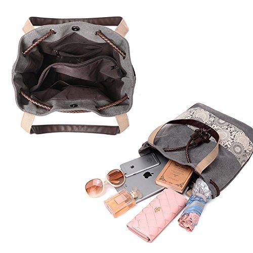 Bandolera Hombro Grande de NOTAG Shoppers de Bolsos Mano de Mujer Bolsa de Lona playa Gris 40HqPw