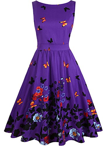 Purple Floral Dress - OWIN Women's 1950s Vintage Floral Swing Party Cocktail Dress With Butterfly Pattern (XL, Purple + Butterfly)
