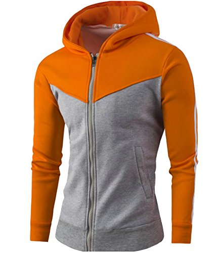 Gocgt Collision Color Hood Double Pocket Jacket Zip 1 Long Up Sleeve Mens rrxSnpRqa