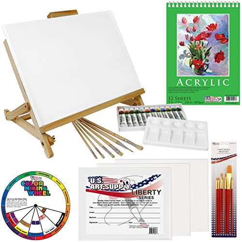 - US Art Supply 33 Piece Custom Artist Acrylic Painting Set with Table Easel, Paint, Canvas and Accessories