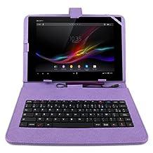 """Etui aspect cuir violet + clavier intégré AZERTY (français) + port de maintien pour tablettes Sony Xperia Tablet Z et Z2 10,1"""" et Packard Bell Liberty Tab et G100 + stylet tactile BONUS"""