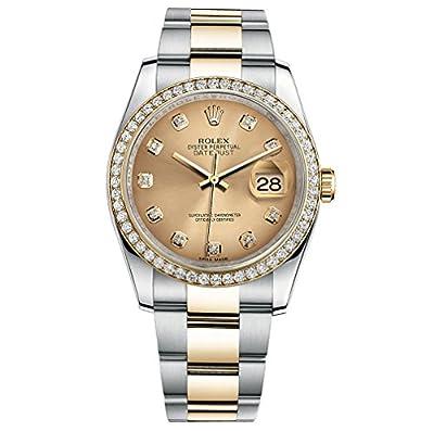 Rolex Datejust 36 Steel Yellow Gold Watch Diamond Bezel Champagne Dial 116243