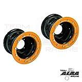 YFZ 450 YFZ 450R Set of 2 Rear Wheels Rims Beadlock 9x8 3+5 4/115 Black / Orange