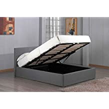 Richmond Ottoman Lift Up Under Storage Grey Fabric Bed Frame by Sleep Design (Double 4FT6 Size) by Sleep Design