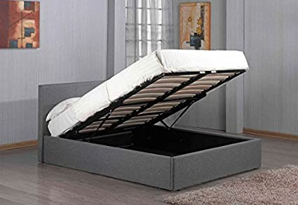 Amazon Com Richmond Ottoman Lift Up Under Storage Grey Fabric Bed