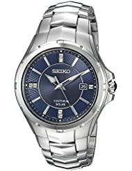 Seiko Mens Coutura Quartz Stainless Steel Casual Watch, Color:Silver-Toned (Model: SNE443)