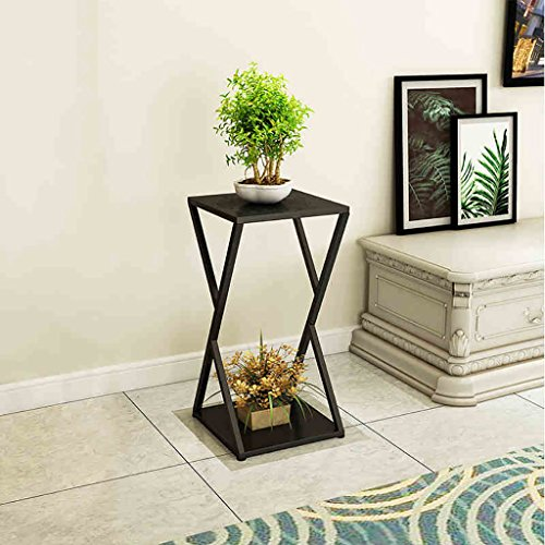 (Flower Stand Stool Flower Stand Stool Square Side Table Tall Pot Stand - Black Metal Flower Stand. Flat top in Black Florists Pedestal (Size : A))