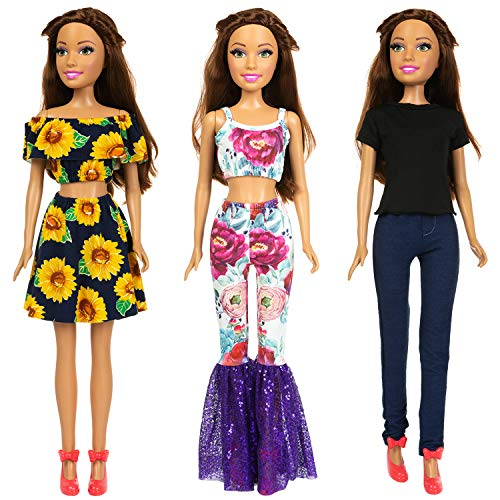 ZITA ELEMENT 3 Sets Fashion 28 Inch Girl Doll Clothes Dress Outfits - Quality Casual Wear Clothes Set, Fashion Sun Flower Off Shoulder Dress and Sequined Flared Pants for 28 Inch Girl Doll Clothing