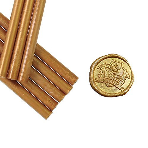 Pack of 8 Metallic Antique Gold Glue Gun Sealing Wax Sticks for Wax Seal Stamp, Great for Cards Envelopes, Wedding;Valentine's Day;Engagement Invitations, Gift Idea