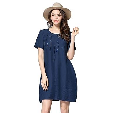 633c45181343 Women's Casual Plus Size Plain Simple T-Shirt Loose Dress at Amazon ...