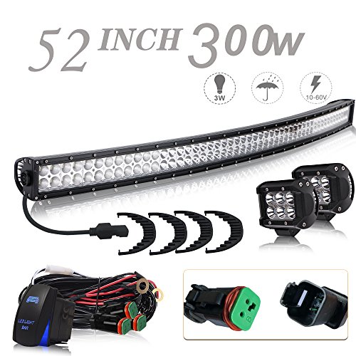 UNI FILTER DOT Approved 52In 300W Curved Offroad LED Light Bar + 2PCS 4In 18W Pods Cube LED Driving Lights W/DT Connector Rocker Switch For GMC Pickup Jeep Wrangler Dodge Ram Ford Truck Polaris RZR