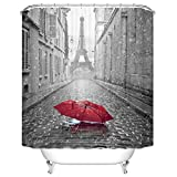 Eiffel Tower Shower Curtain Ormis Eiffel Tower From the Street of Paris Pattern Shower Curtain 72X72 inches Mildew Resistant Polyester Fabric Bathroom Fantastic Decorations Bath Curtains