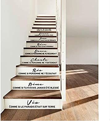 Etiqueta de la escalera Cita francesa Cheris su familia vinilo tatuajes de pared arte de la pared sala de estar decoración del hogar decoración de la casa: Amazon.es: Bricolaje y herramientas