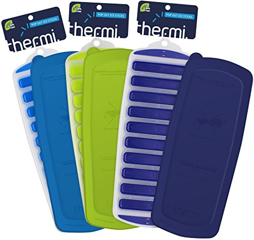 Thermi Ice Cube Tray with Easy Release Push Pop Out Narrow Ice Stick Cubes for Small Mouth Sport Water Bottles S'well Cola Vacuum Insulated (3 Pack + Lids (Frost Blue, Lime Green, Midnight Blue)) ()