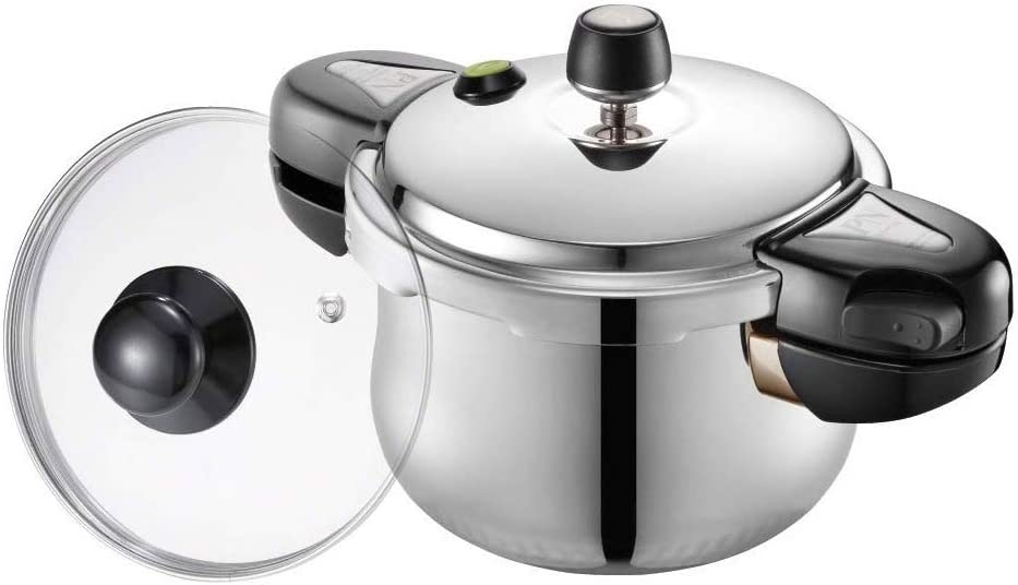PN Poong Nyun Hi Clad Hive Stainless Steel Pressure Cooker with Glass Lid, 2.1-Quarts, Silver