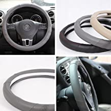 "Fit Hyundai Kia Subaru New Gray Leather Steering Wheel Cover 58009 14""-15"" 38cm"