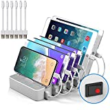JZBRAIN Multi Device Charging Station Cables Cell Phone Tablets 5V 50W 6 Port Multiple USB Charger Station (White)